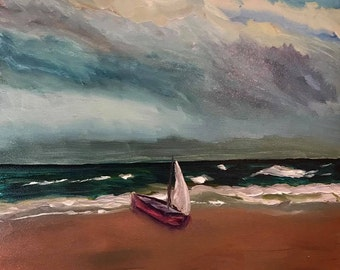 Original Oil Painting of Sailboat on Beach