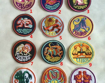Zodiac Signs Costume Embroidered Clothes Patches,Horoscopes,Constellation Sar Sign Sew On/Iron On Zodiac Patch,For Backpacks