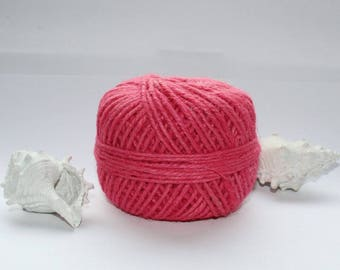 Jute yarn, pink, pink, pink jute yarn, three stringy, craft, 60 meters long