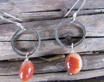 Ancient Celtic Bronze Ornamental hair rings (2000+ years old) with Carnelian and Sterling Silver