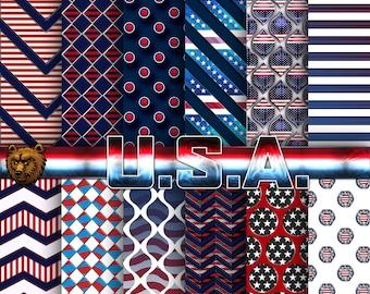 USA digital paper, USA background, USA scrapbook paper, patriotic digital paper