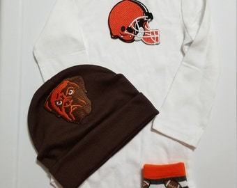 Cleveland Browns baby boy outfit- Browns baby boy shower gift-baby browns outfit-browns baby boy game day outfit-infant browns outfit