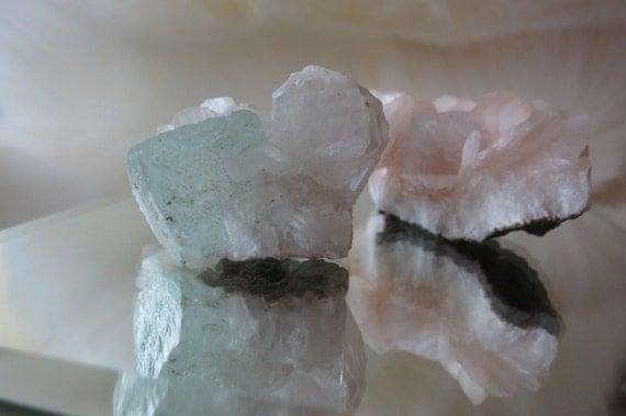 Stilbite & Green Apophyllite Set - From 3.5cm To 4.3cm - ITEM #14