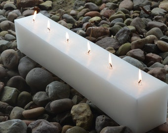 Hand poured 24 inch long multi wick candle with 6 wicks WHITE    ships in 1 business day