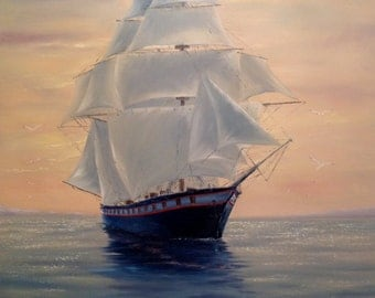 Frigate Oil Painting On Canvas Sailboat Art Ship Painting Original Painting Wall Art Canvas Seascape Painting Sea Painting Nautical Painting