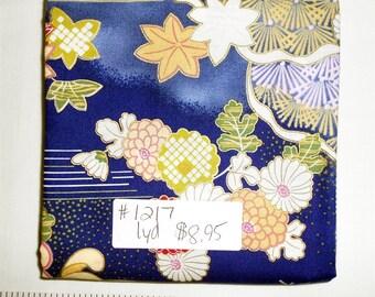 Fabric -  1yd piece-Kimono Art- Bl Mums /Asian Print (#1217) In The Beginning Fabrics -Oriental/Blue/Green/Gold/Cream/Pink/Metallic/Floral