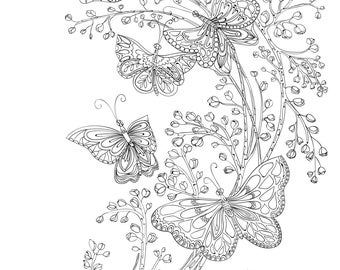 Peaceful Butterfly Coloring Page For Calm, Relaxation, and Stress Relief - Adult Coloring Page Print Instantly
