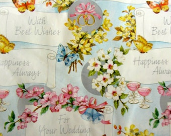Vintage Wedding Gift Wrap, Wedding Wrapping Paper Vintage Wedding Gift, Wedding, Marriage, Just Married, Wedding Bells, Bride and Groom Gift