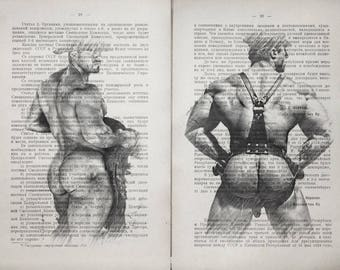 Gay cowboys poster 2 pages / Muscle mans / Printing Antique  Russian book page  decor interior picture ART erotic