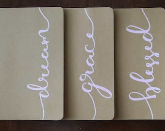 Pink Collection | Calligraphy Journal | Personalized | Large Moleskine Journal | Handlettered | Prayer Journal | Notes