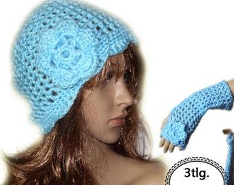 Vintage romance Handgehäkelt crochet hat with hand warmers wrist warmers gloves NEW Gr.S/M