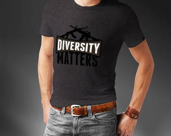 Diversity Matters AR-15 AK-47 Gun T-Shirt - Funny Gun T-Shirt