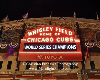 2016 Wrigley Field Chicago Cubs scoreboard World Series Champions photograph