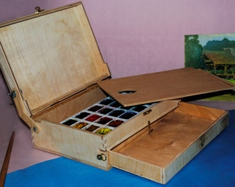 Artist's Pochade Box for watercolour. Painter's Portable Easel