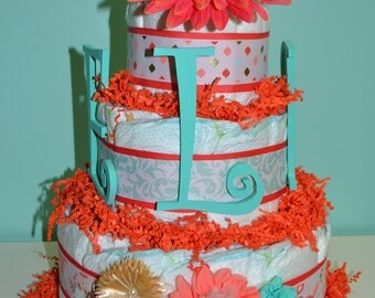 3 Tier Beautiful Coral flower Cake