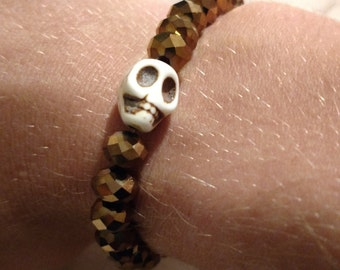 Cream and Bronze Skull Bracelet