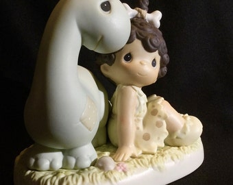 """Precious Moments """"Friends From The Very Beginning"""" - Cave Girl With Friend Dinosaur"""