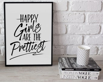 Happy Girls Are The Prettiest | Printable Poster | Typography | Black and White | Modern | Wall Art | Poster Print | Decor | Audrey Hepburn