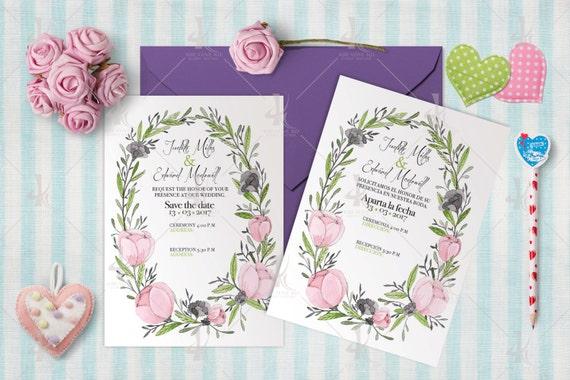 Water pink flower wedding invitation-One side print/Digital file ready to print 11.5cmx14.5cm