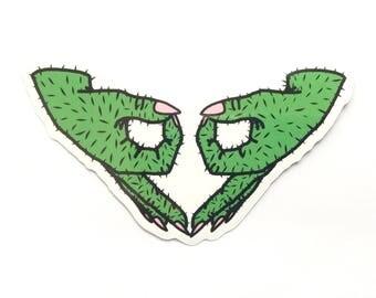 Grow a Pair Sticker // Feminist Nopal Hands Vinyl Sticker // Gilded Nopal