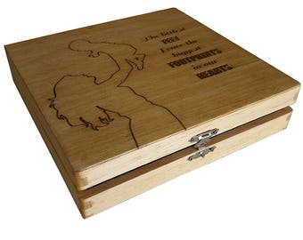 Baby Shower Gift - Baby Keepsake Box- The littlest feet leave the biggest footprints in our hearts
