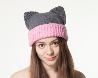 Grey Cat Hat with Ears, Crochet Animal Hat, Knitted Kitty Hat, Pink Warm Winter Beanie, Knitted Merino wool hat for Girls for Women