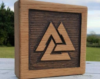 Viking Valknut/Nordic/hand carved/plaque/ Fathers Day/ Man Cave