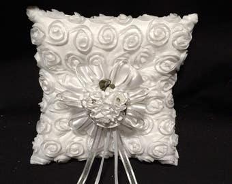 Wedding ring bearer pillow rosette design - Ring Pillow, Rosette ring bearer pillow, wedding pillow .