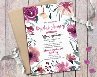 Bridal Shower invitation Floral Purple Burgundy White Digital Hand painted Watercolor invite Romantic Boho Bridal Party Invitation Printable