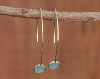 Gold Threader Earrings * Gemstone * Aqua * Copper Turquoise * Earrings * Labradorite * Blue  Chalcedony * Teal Chalcedony * Druzy * BJE053