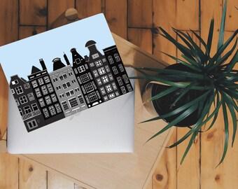 Amsterdam Print, Amsterdam printable, Amsterdam Skyline, Netherlands Print, Digital Print, Instant download, Christmas printable