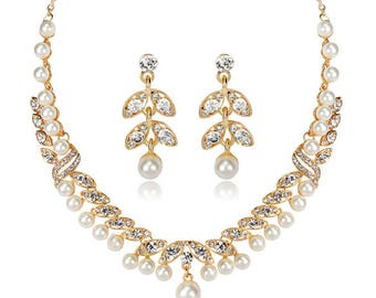 New Charming Women Wedding Bridal Pearl Crystal Rhinestone Necklace Earrings Set Jewelry