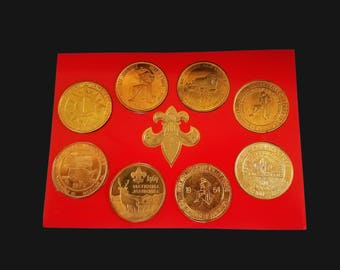 Boy Scouts Jamboree Coin Set - 8 coins - Vintage Mint Collection in a case with stand - National Jamboree Boy scouts medallion set