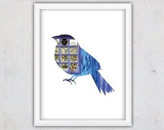 Blue Bird Art Print, Photogrphy Download Poster, Modern Wall Art, Animal Woodland Decor, Download Print, Nursery Printable Wall Art