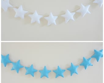 Blue stars garland, white felt fabric stars banner, baby boy shower decor, wedding bunting, twinkle little stars, nursery wall hanging