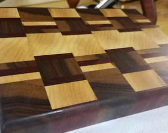 Walnut, Maple, Bloodwood End Grain Cutting Board