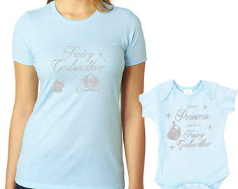 fairy godmother shirt goddaughter matching shirts, every princess needs a fairy godmother, godmother gift, godparent gift (SILVER glitter)