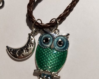 Night Owl Necklace on Braided Chord