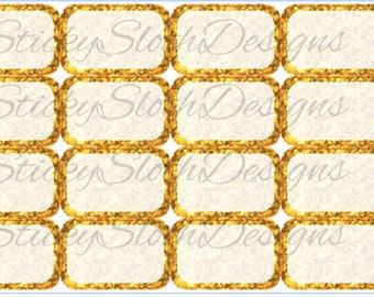 Gold or Silver Half Boxes - 16 Planner Stickers