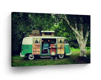 Classic Volkswagen Van Camping Photo Canvas Print Home Decor / Old Vintage Bus /Wall Art Gallery Wrapped /Ready to Hang