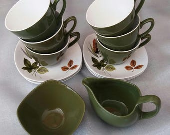 Staffordshire Midwinter Riverside pottery by John Russell, mid century tea set, retro, vintage