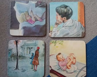 Set of 4 1970 decoupaged coasters, cork backed
