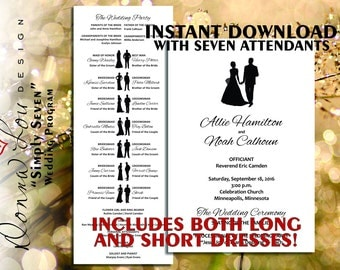 "Wedding Program, Instant Download, Silhouettes, SEVEN, Printable Digital Download, Wedding Program Template, DIY, Editable, ""Simply Seven"""