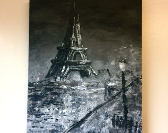 Black and white Paris canvas, small