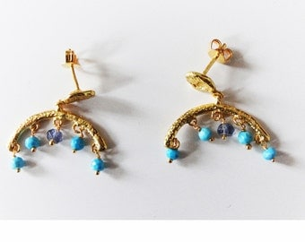 Gold plated earrings, Stones turquoise and iolite