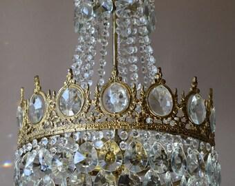 Divine Empire Vintage Crystal Chandelier -1950's Antique Chandelier-French Crystal Chandelier- Super Hand made crystal Chandelier & Fixture