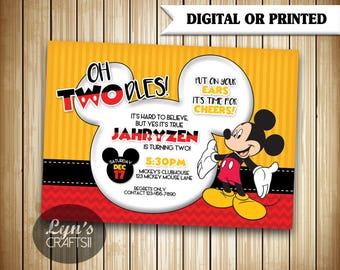 Mickey Mouse Invitation // Mickey Mouse Invites // Birthday Invitations // Birthday Invites // Oh Twodles // Two