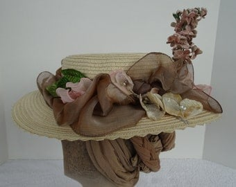 1890's Reproduction Victorian Straw Boater