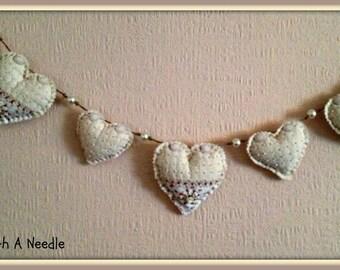 Handmade Shabby Chic Style Heart Bunting- Cream