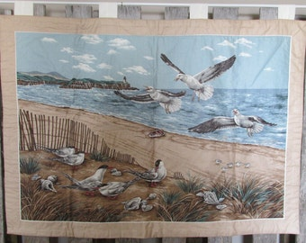 Seagulls on a Beach wall hanging finished and ready to hang